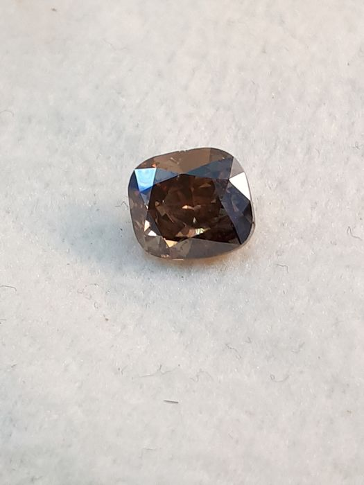 Diamond - 1.00 ct - Cushion - fancy intens orangy brown - SI2