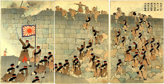 """Original Holzschnitt-Triptychon - Papier - Kobayashi Kiyochika (1847-1915) - """"Our Army Occupies the Fortress of Fengcheng as the Enemies Flee and Set Sire to It"""" - Japan - 1904 (Meiji 37)"""