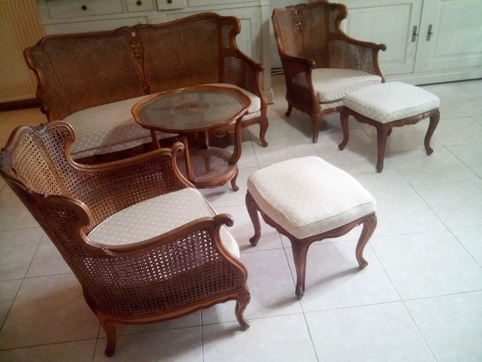6-piece cane furniture set: Sofa, two wing chairs with stools and a coffee table - - Louis XV Style