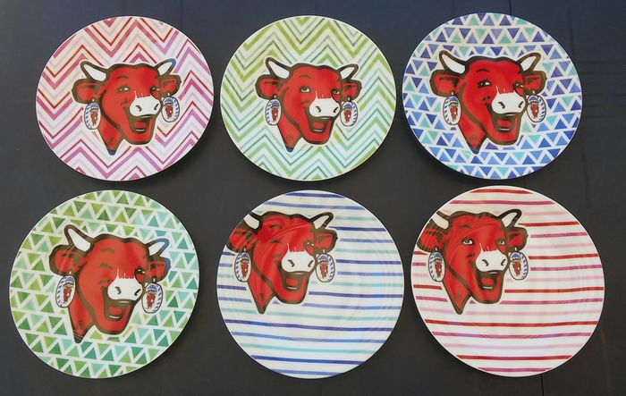 """BEL - Series of Plates """"The Laughing Cow"""" (6) - Contemporary"""