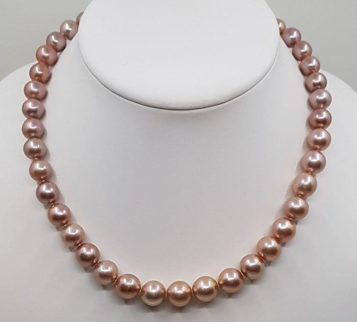 no reserve - 925 Silver - 10x11mm Beautiful Colour Round Edison Pearls - Necklace