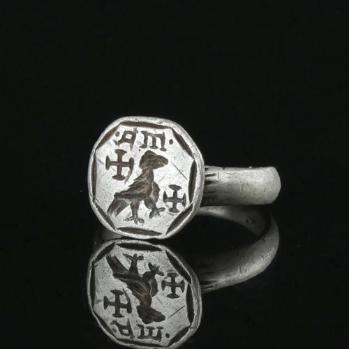 Medieval Silver Crusader Seal Ring with Eagle and Templar crosses - (1)