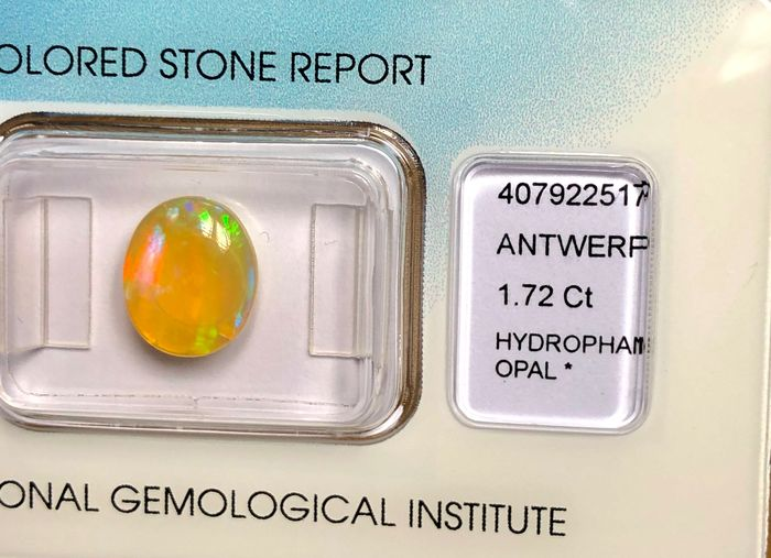 Orange,Dominant Colors: Blue, Green,Yellow Opal - 1.72 ct