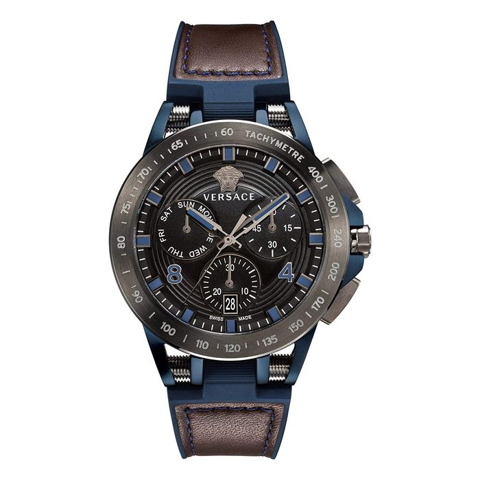 Versace - Sporty Tech Chronograph Day & Date Watch Two Tone IP Blue & Gun Metal Grey Swiss Made - VERB00218 - Uomo - Brand New