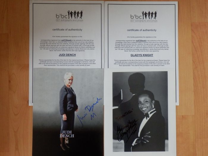"James Bond - 007 - Lot of 2 - Dame Judi Dench as ""M"" (7 Films)  & Gladys Knight (Singer title song Licence to Kill)  - Autógrafo, Fotografia, Signed, with Coa"