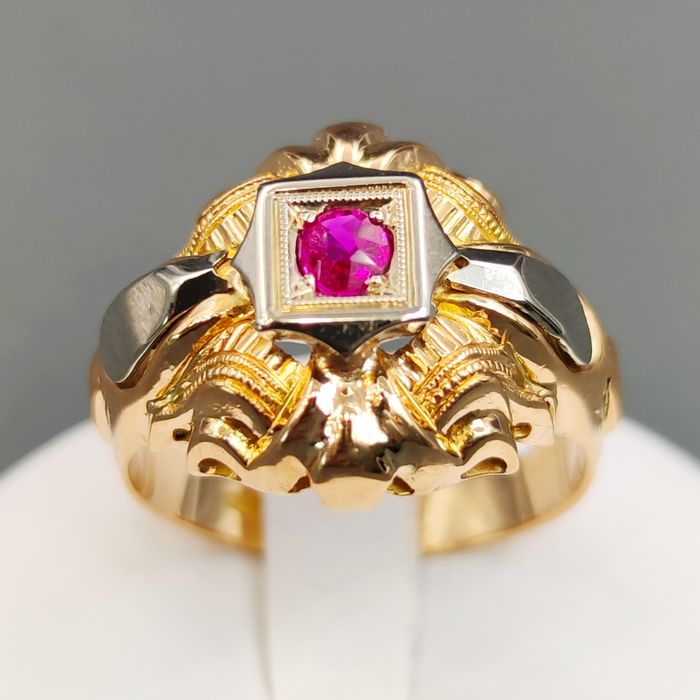 18 kt. White gold, Yellow gold - Ring - 0.07 ct Ruby