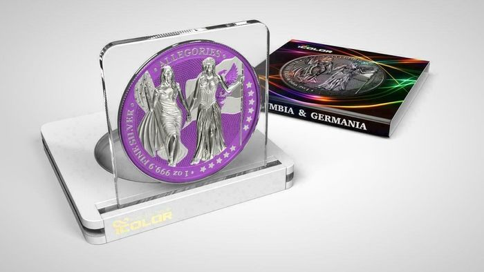 Deutschland - 5 Mark 2019 - Germania -  The Allegories i-Color Edition - Purpureus - 1 Oz - Silber