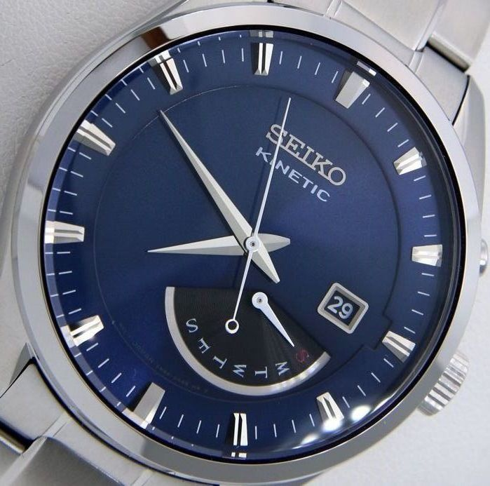 """Seiko - """"NO RESERVE PRICE""""  Kinetic Day/Date 100M WR """"Blue Dial"""" - Men - 2019"""