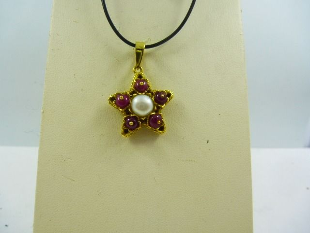 18 kt. Yellow gold - Pendant Pearl - Rubys