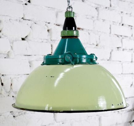 Hanging lamp, Russian enamel industrial factory light