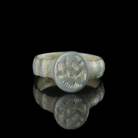 Ancient Roman Bronze Legionary Ring with Aquila wings - (1)