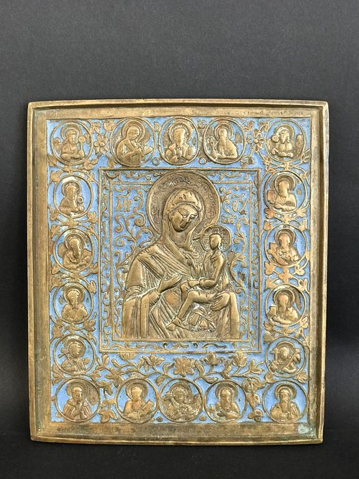 Mother of God - Travel Icon - Bronze Enamel 19th - Brons, Emaille - Midden 19e eeuw