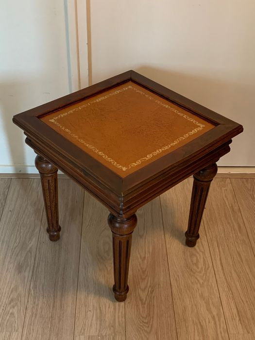 English library / coffee table with sienna leather top