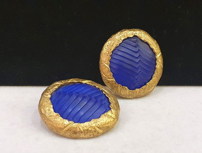 Claude Montana 18kt gold plated Large blue Gripoix Earrings