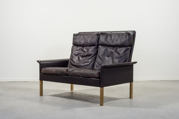 Hans Olsen - CS Mobler - two seats brown leather sofa