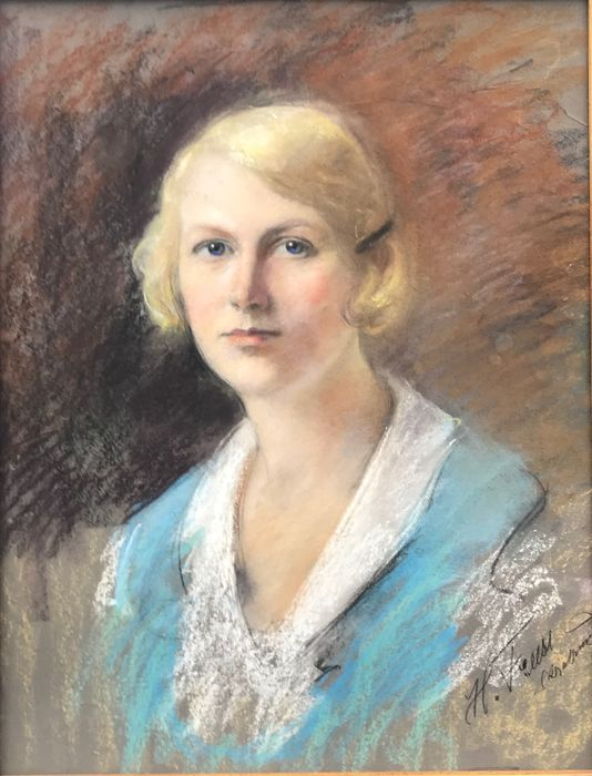 Continental School (20th Century) - Beautiful young woman in a blue dress