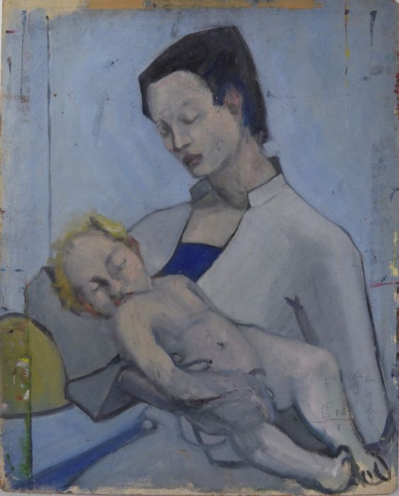 English school (20th century) - A mother and child