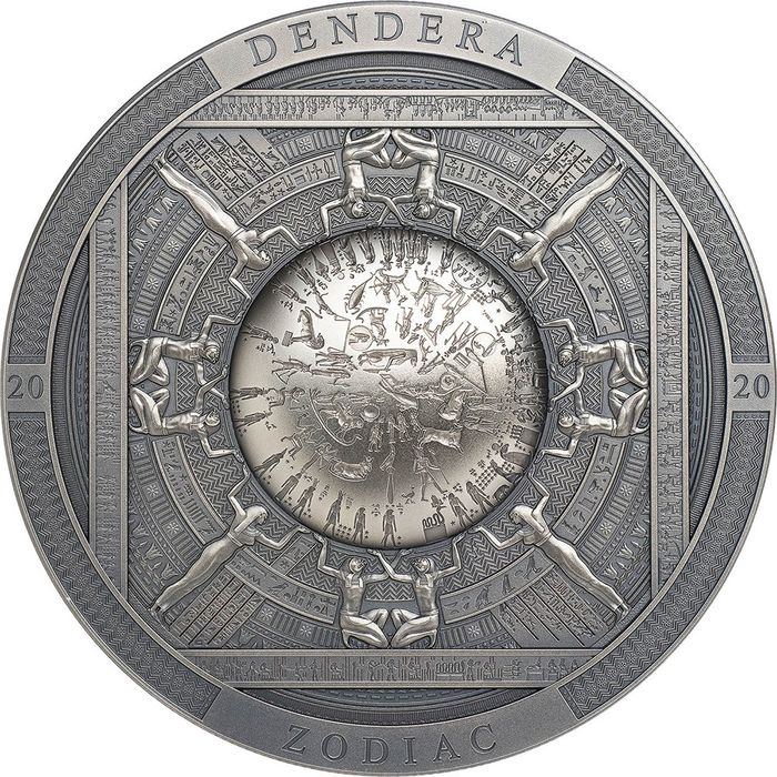"Cook Islands. 20 Dollars - 2020 - ""DENDERA"" - Zodiaco - Calendario - Archeology Symbolism - 3 Oz"
