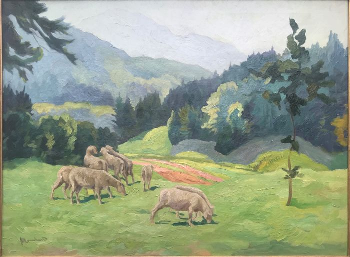 Karl Mannhart (20th Century) - Sheep grazing in a mountain landscape