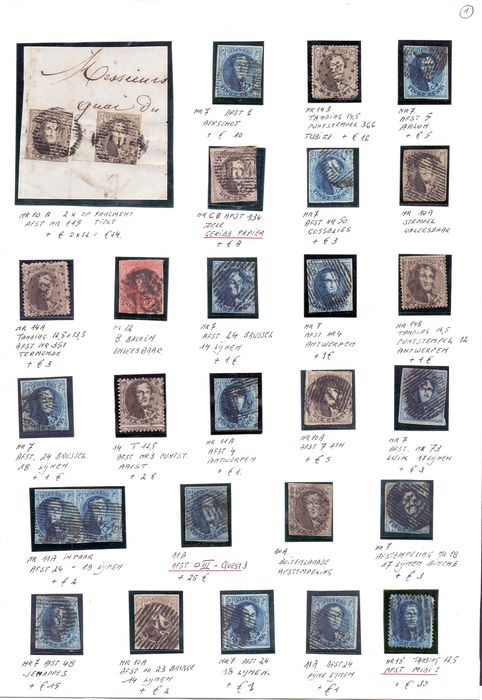 Belgium 1849/1863 - Cancellation study/paper types with 103 medallions and detailed descriptions - OBP / COB