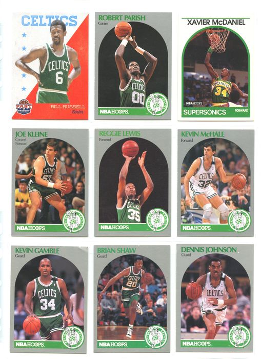 Boston Celtics - NBA Basketbal - Bill Russell - Robert Parish - Kevin Garnett - Paul Pierce and others - 1990 - Sports cards
