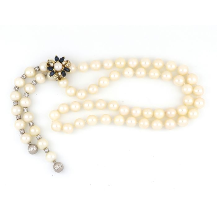 AIG Certified - 14 kt. White gold, Yellow gold - Necklace - 1.62 ct Diamond - Pearls, Sapphires