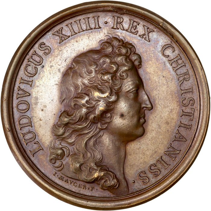 "France. Médaille en bronze ""Louis XIV. Rétablissement de la navigation"" 1665 par Mauger"