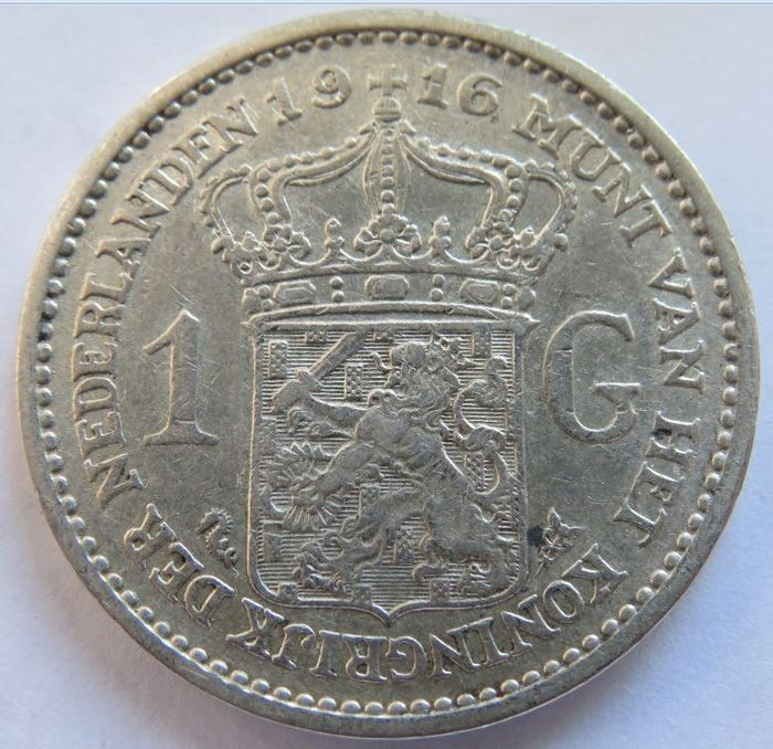 The Netherlands - 1 Gulden 1916 Wilhelmina - Silver
