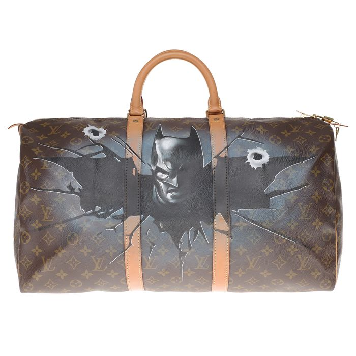 "Louis Vuitton - Keepall 60 en toile enduite Monogram customisé ""Batman Vs Elmer"" #71 Weekend bag"