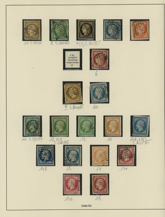 Frankreich 1849/1900 - A beautiful and virtually complete collection of classic Cérès and Napoleon stamps on YT pages - Yvert Entre les n°1 et 38