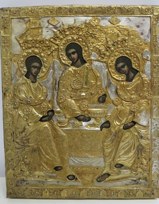 Icon, The Holy Trinity, oklad - wood, metal and linen - Around 1900