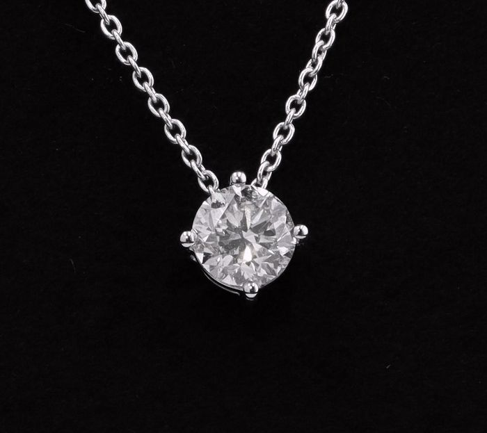 18 kt. White gold - Necklace with pendant - 0.50 ct Diamond