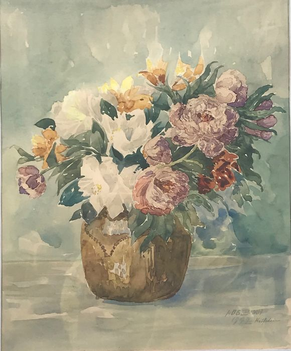 Continental School (20th Century) - Flowers in a brown terracotta vase
