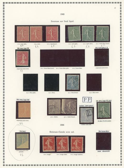 Frankreich 1885/1894 - A beautiful specialised 'Semeuse' type stamps collection with many varieties - Yvert Entre les n°1 et 21
