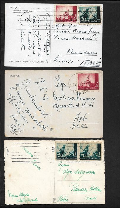 Jugoslawische Besetzung - Croatia, lot of 11 postal items with interesting uses and postage.