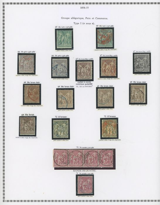 Frankreich 1876/1900 - A lovely specialised set of classic Sage stamps for shades, varieties and postmarks. - Yvert Entre les n°65 et 106