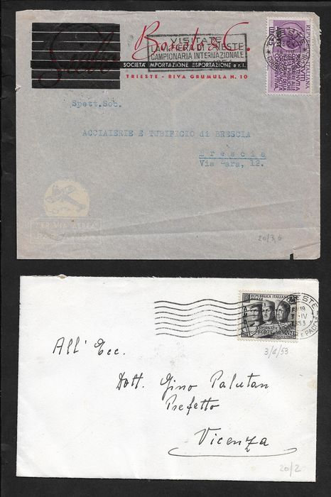 Italien - Trieste, lot of 19 postal items stamped with values overprinted AMG-FTT, many isolated.