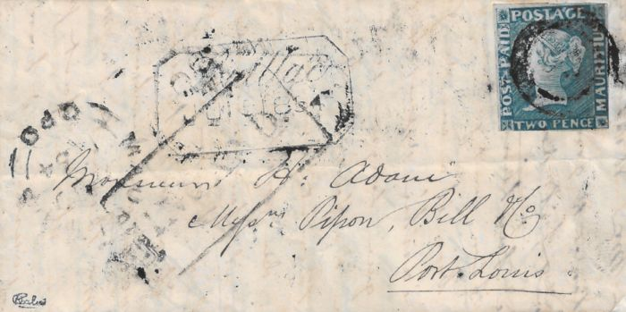 "Mauritius 1854 - A very rare blue 2 pence ""postage paid"" stamp on a letter bound for Port Louis. - Stanley Gibbons 14"