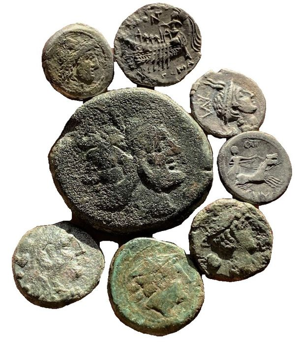 Italien - Römische Republik - Lot comprising 8 AR and AE coins Denarius As, Semis and Sextans - Bronze, Silber