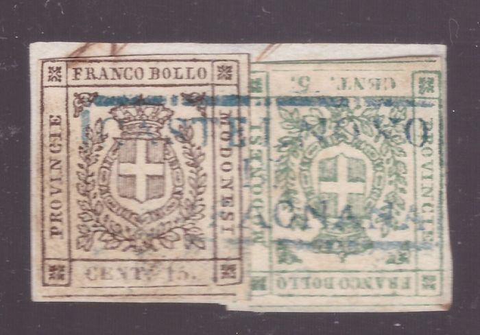 Italienische antike Staaten - Modena 1859 - 5 and 15 cents Provisional Government on small fragment - Sassone NN. 12/3