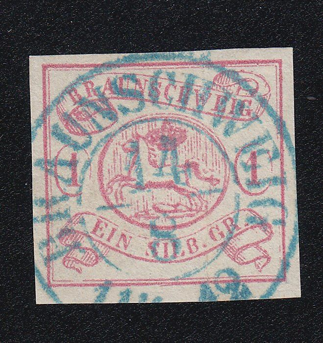 Brunswick 1852 - visually perfect item, nearly perfect, except for a crease mark, new photo expert finding - Michel 1