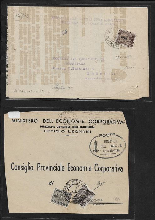 Italien - RSI/Lieutenancy, lot of 9 postal items stamped with authorised deliveries in late uses and tax.