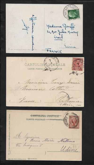 Italien - Kingdom, lot of 19 postal items with interesting travelling cancellation.