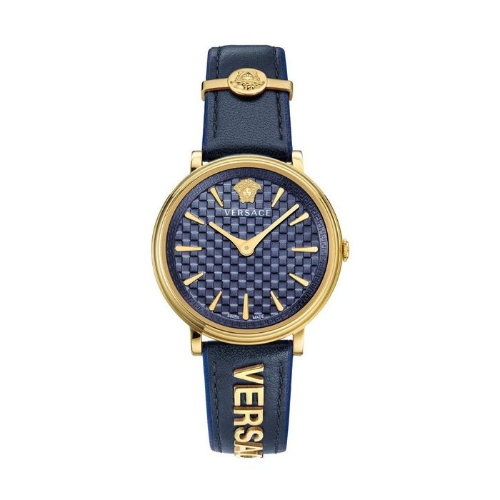 """Versace - V-Circle Watch IP Gold Blue Leather Strap Swiss Made - VE8101219 """"NO RESERVE PRICE"""" - Heren - Brand New"""