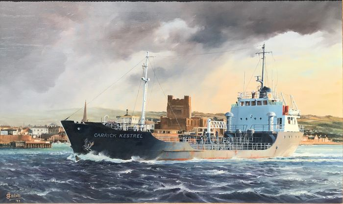 John Cobb (20th Century) - M T Carrick Kestrel of Carrickfergus Harbour, Northern Ireland