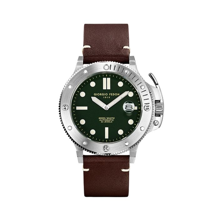 """Giorgio Fedon - Automatic Aquamarine Stainless Steel Green Dial Brown Leather Strap - GFCL003 """"NO RESERVE PRICE"""" - Herren - 2011-heute"""