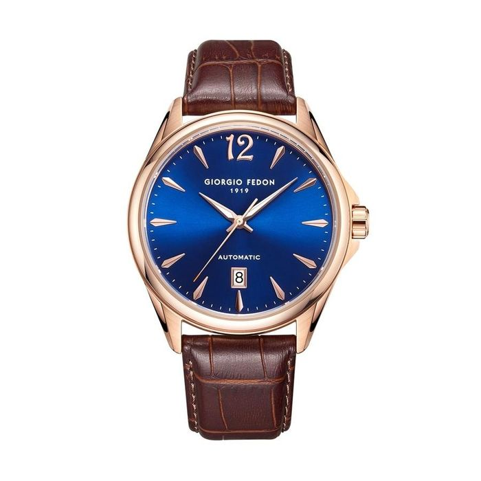 """Giorgio Fedon - Automatic PAT IP Rose Gold Blue Dial Brown Leather Strap - GFAT007 """"NO RESERVE PRICE"""" - Heren - 2011-heden"""