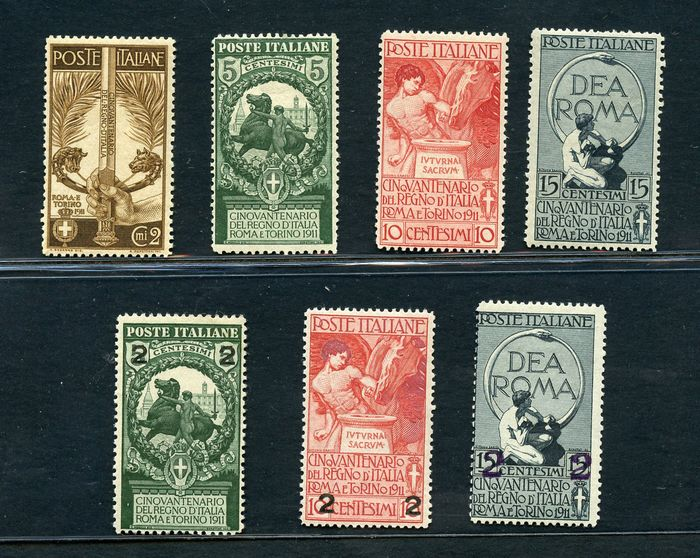 Italien Königreich 1911 - Unification of Italy and overprints - Sassone NN. 92/95 - 99/101