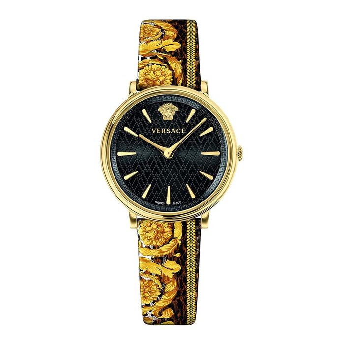 Versace - V-Circle Tribute Edition Watch IP Gold Printed Leather Strap Swiss Made - VBP130017 - Mujer - Brand New