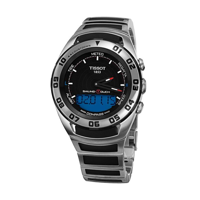 Tissot - Sailing Touch Chronograph Watch Digital Dial Steel Sapphire Crystal Swiss Made - T0564202105100 - Heren - Brand New